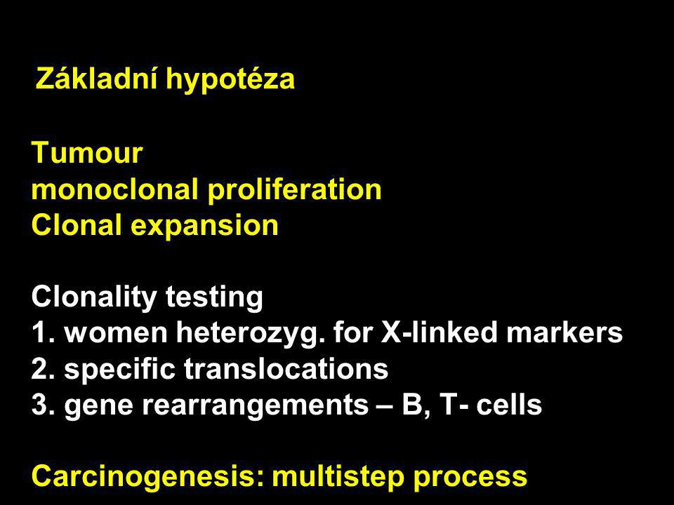 Tumour monoclonal proliferation Clonal expansion Clonality testing 1. women heterozyg. for X-linked markers 2. specific translocations 3. gene rearran