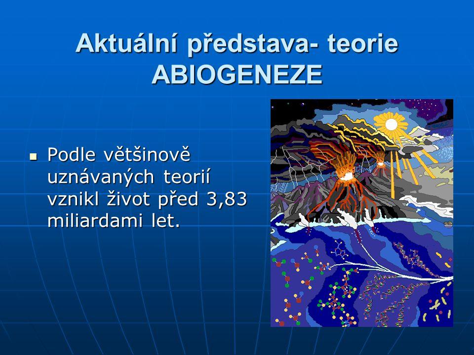 Aktuální představa- teorie ABIOGENEZE Podle většinově uznávaných teorií vznikl život před 3,83 miliardami let. Podle většinově uznávaných teorií vznik