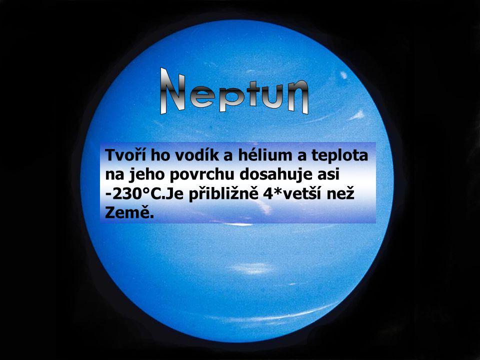 Tvoří ho vodík a hélium a teplota na jeho povrchu dosahuje asi -230°C.Je přibližně 4*vetší než Země.