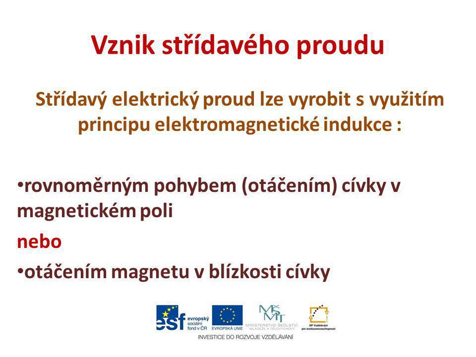 Vznik střídavého proudu Střídavý elektrický proud lze vyrobit s využitím principu elektromagnetické indukce : rovnoměrným pohybem (otáčením) cívky v m