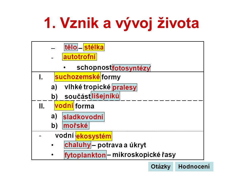 1. Vznik a vývoj života –tělo – stélka -autotrofní schopnost fotosyntézy I.suchozemské formy a)vlhké tropické pralesy b)součást lišejníků II.vodní for
