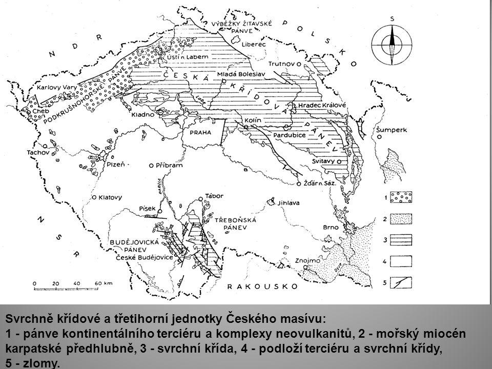 Svrchně křídové a třetihorní jednotky Českého masívu: 1 - pánve kontinentálního terciéru a komplexy neovulkanitů, 2 - mořský miocén karpatské předhlub
