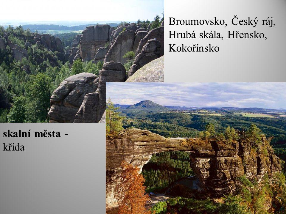skalní města - křída Broumovsko, Český ráj, Hrubá skála, Hřensko, Kokořínsko
