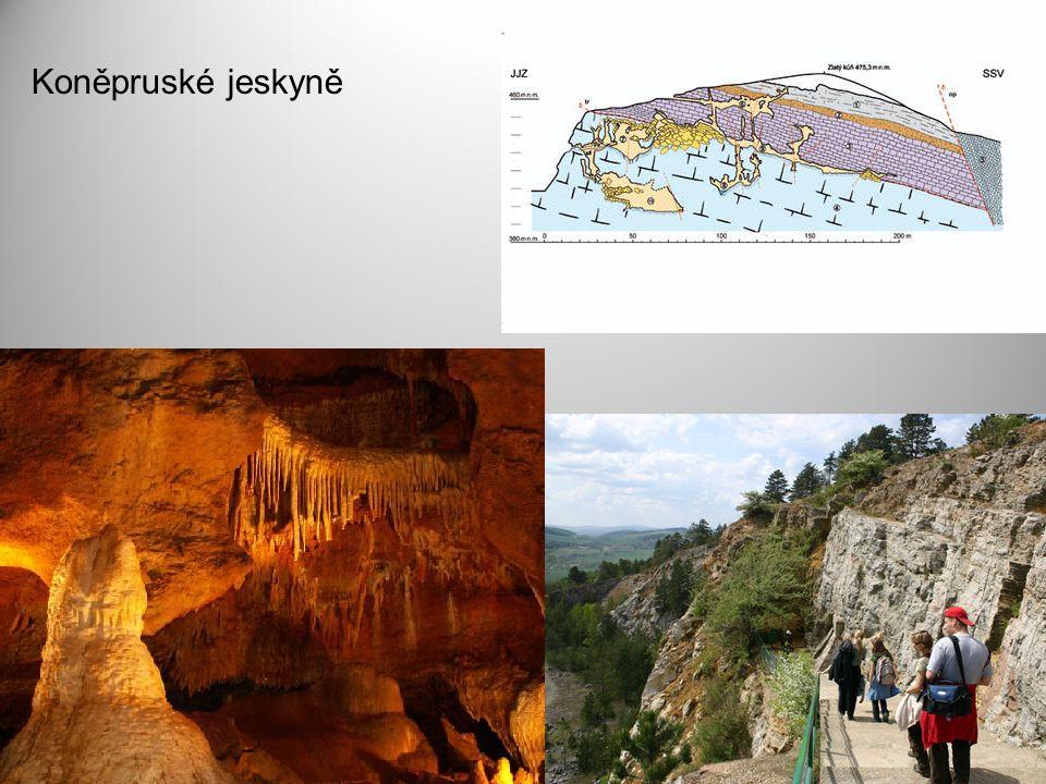 Moravský kras mořské usazeniny (devon, silur) více jak 1100 jeskyní Macocha
