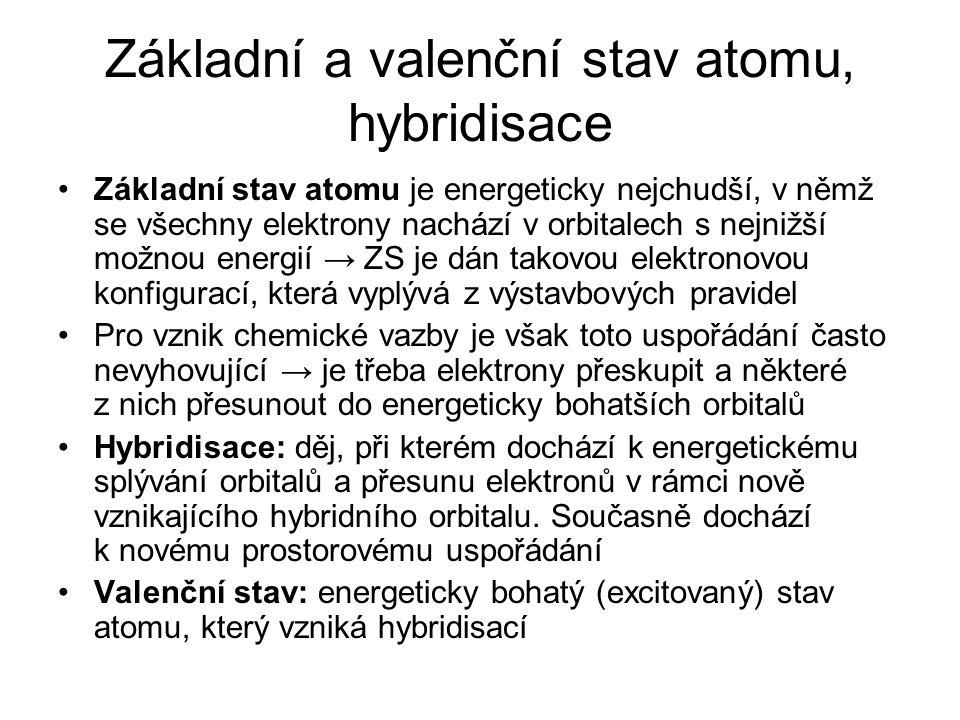 Základní a valenční stav atomu, hybridisace Základní stav atomu je energeticky nejchudší, v němž se všechny elektrony nachází v orbitalech s nejnižší