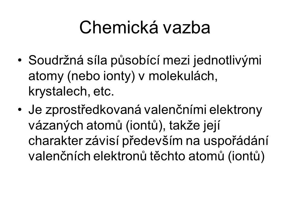 Chemická vazba Soudržná síla působící mezi jednotlivými atomy (nebo ionty) v molekulách, krystalech, etc. Je zprostředkovaná valenčními elektrony váza