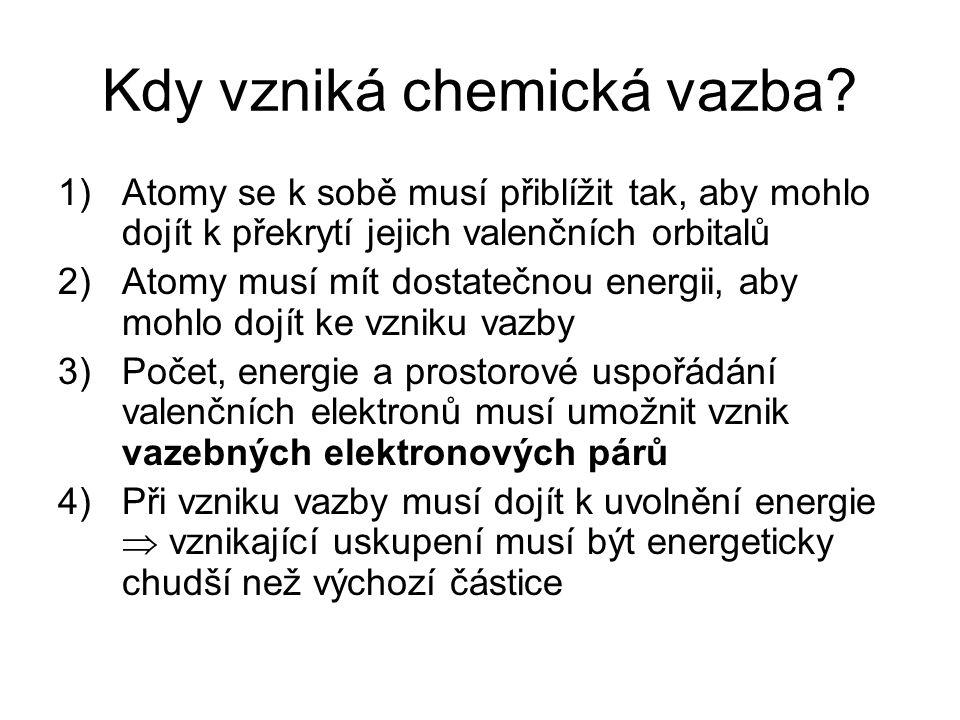Kdy vzniká chemická vazba? 1) Atomy se k sobě musí přiblížit tak, aby mohlo dojít k překrytí jejich valenčních orbitalů 2)Atomy musí mít dostatečnou e