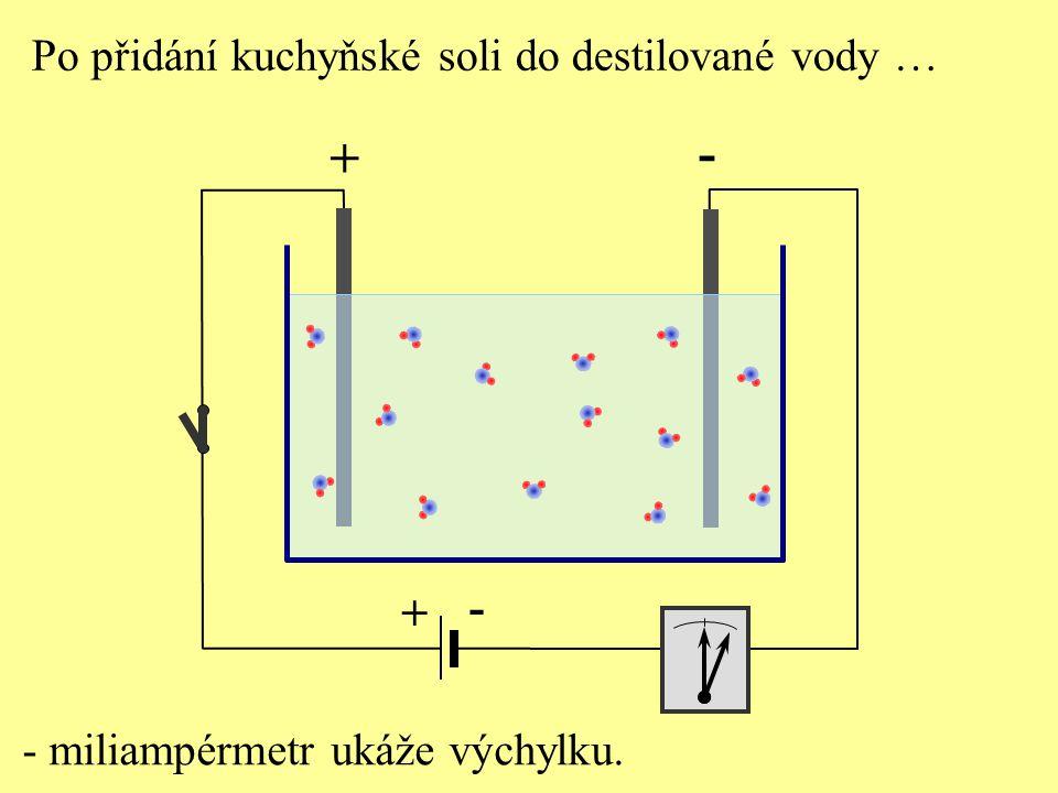 + - + - Po přidání kuchyňské soli do destilované vody … - miliampérmetr ukáže výchylku.