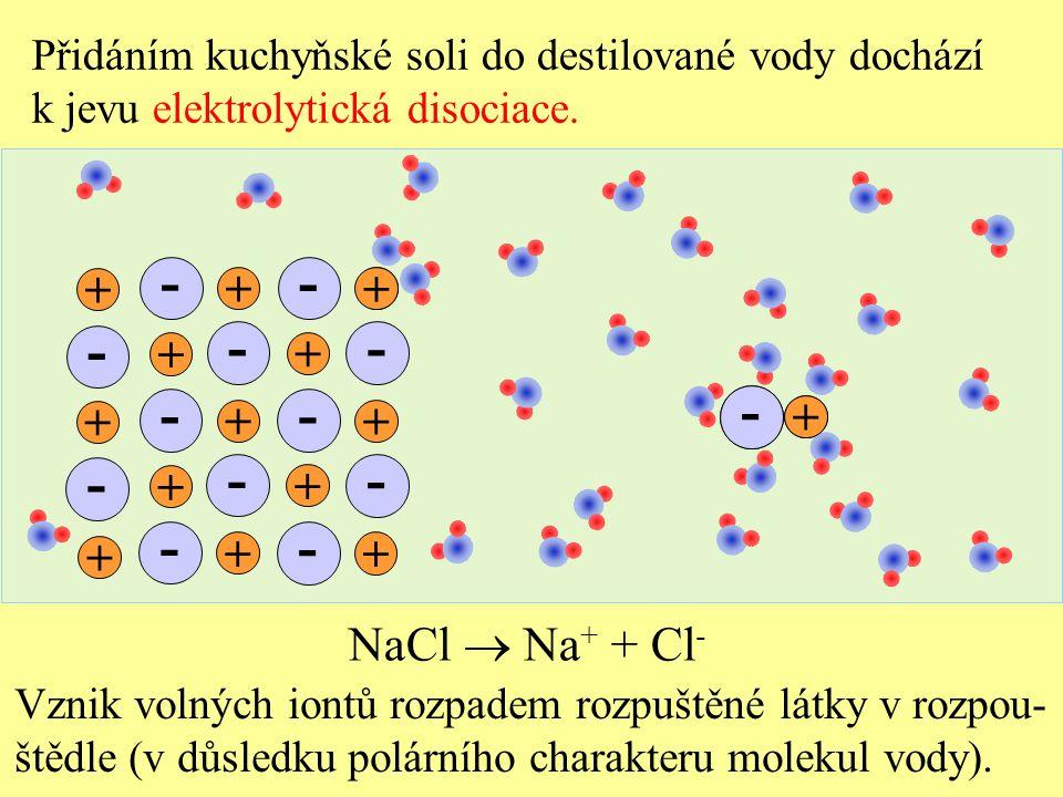 Přidáním kuchyňské soli do destilované vody dochází k jevu elektrolytická disociace.