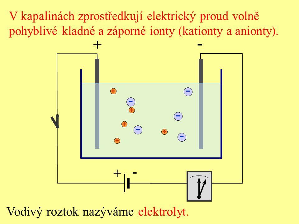 Vložíme-li do elektrolytu dvě elektrody a zapojíme je na svorky stejnosměrného napětí, vznikne mezi elekt- rodami uvnitř elektrolytu elektrické pole.