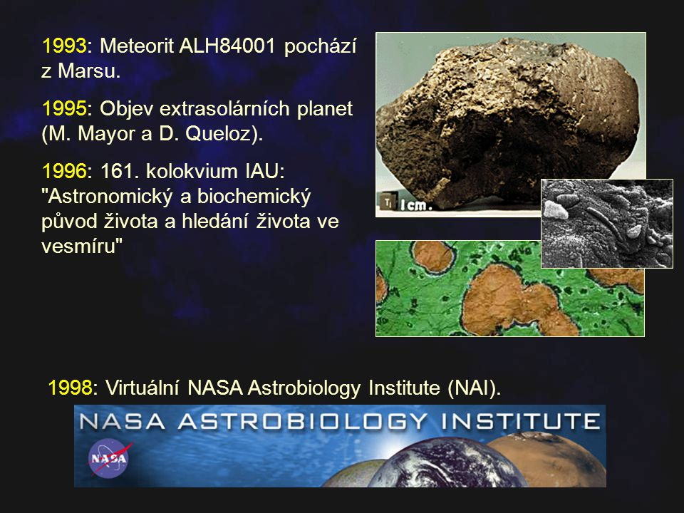 1993: Meteorit ALH84001 pochází z Marsu. 1995: Objev extrasolárních planet (M. Mayor a D. Queloz). 1996: 161. kolokvium IAU: