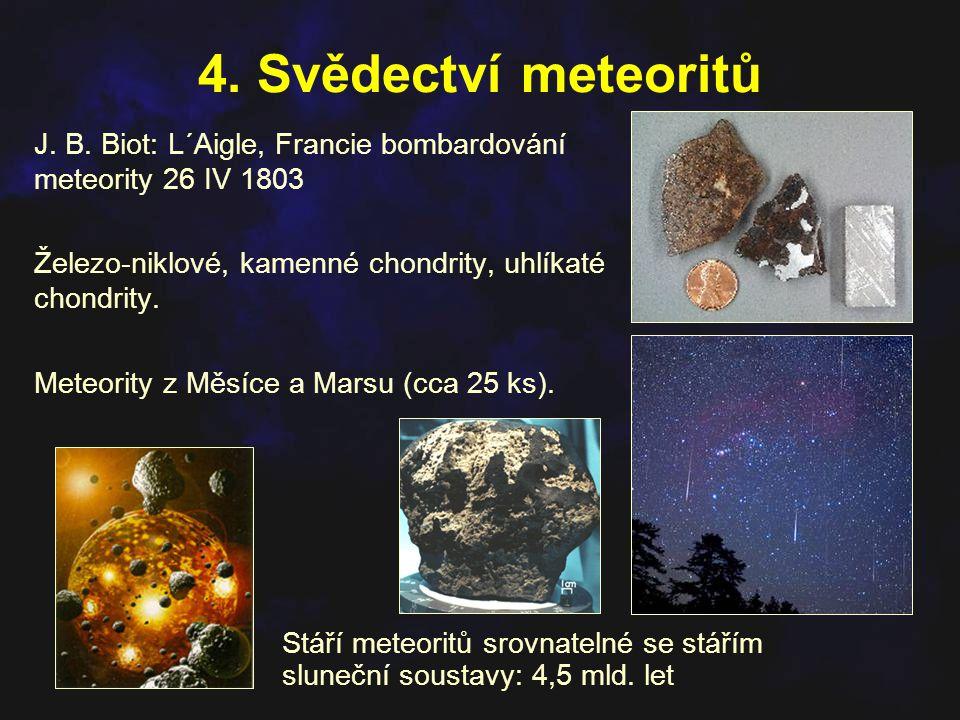 4. Svědectví meteoritů J. B. Biot: L´Aigle, Francie bombardování meteority 26 IV 1803 Železo-niklové, kamenné chondrity, uhlíkaté chondrity. Meteority