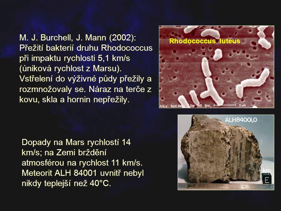 M. J. Burchell, J. Mann (2002): Přežití bakterií druhu Rhodococcus při impaktu rychlosti 5,1 km/s (úniková rychlost z Marsu). Vstřelení do výživné půd