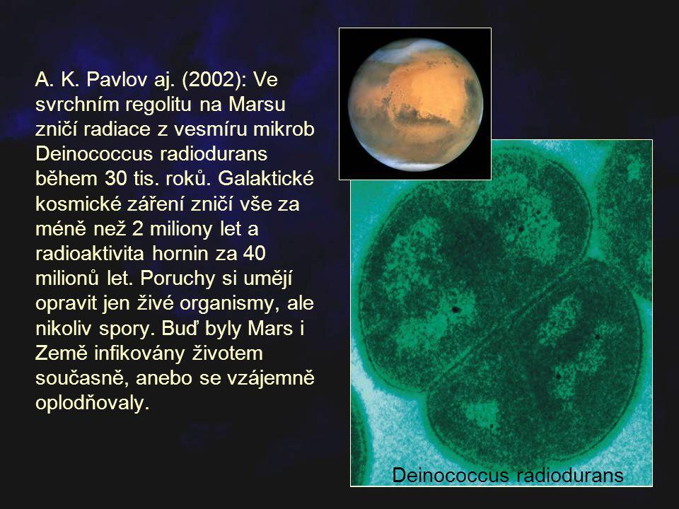 A. K. Pavlov aj. (2002): Ve svrchním regolitu na Marsu zničí radiace z vesmíru mikrob Deinococcus radiodurans během 30 tis. roků. Galaktické kosmické