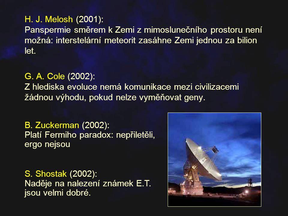 H. J. Melosh (2001): Panspermie směrem k Zemi z mimoslunečního prostoru není možná: interstelární meteorit zasáhne Zemi jednou za bilion let. G. A. Co