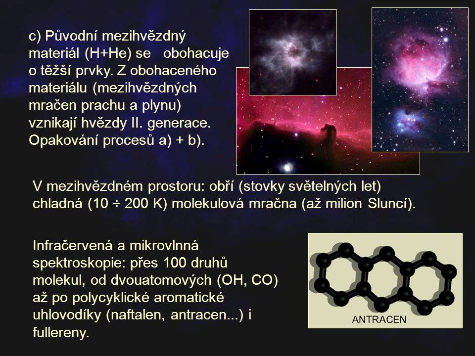 d) Vznik hvězd III.generace; zhruba 2% podíl prvků těžších než helium (Slunce).