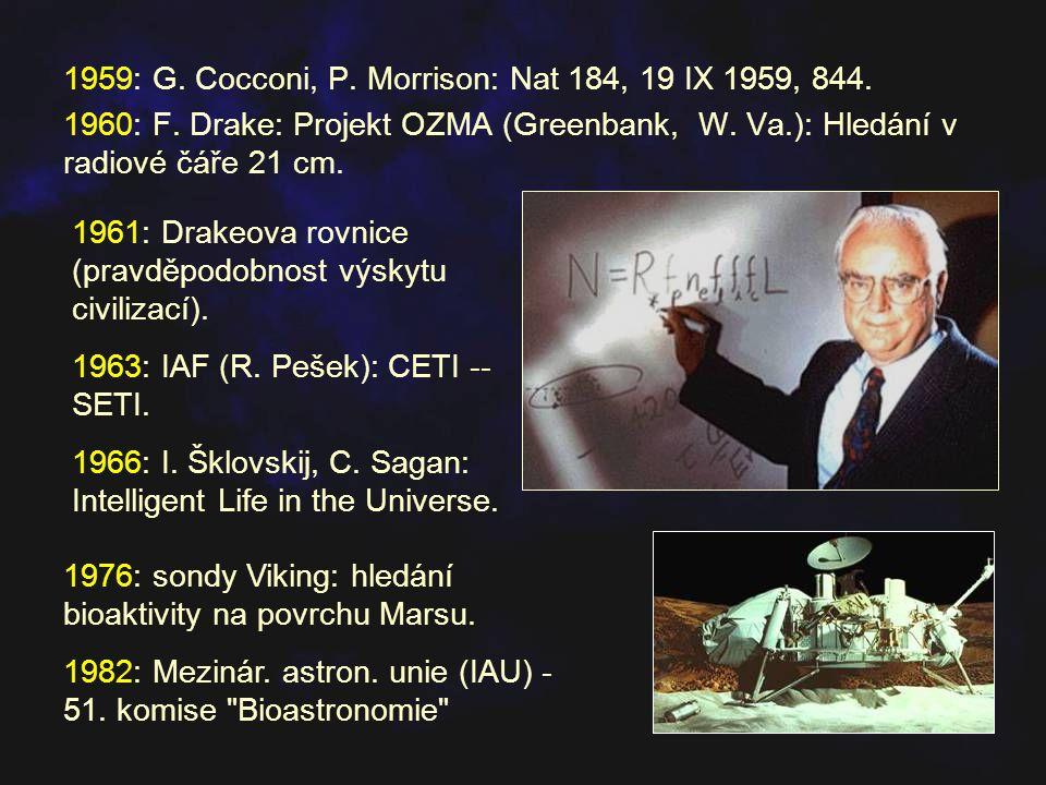 1959: G. Cocconi, P. Morrison: Nat 184, 19 IX 1959, 844. 1960: F. Drake: Projekt OZMA (Greenbank, W. Va.): Hledání v radiové čáře 21 cm. 1976: sondy V