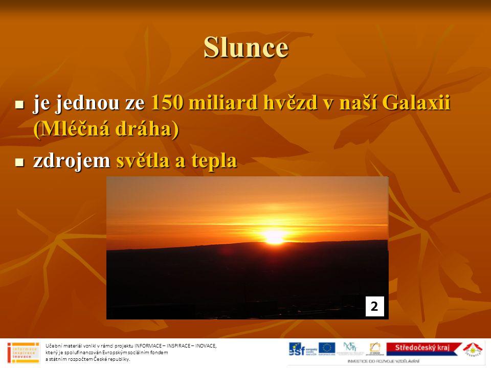 Slunce je jednou ze 150 miliard hvězd v naší Galaxii (Mléčná dráha) je jednou ze 150 miliard hvězd v naší Galaxii (Mléčná dráha) zdrojem světla a tepla zdrojem světla a tepla 2 Učební materiál vznikl v rámci projektu INFORMACE – INSPIRACE – INOVACE, který je spolufinancován Evropským sociálním fondem a státním rozpočtem České republiky.