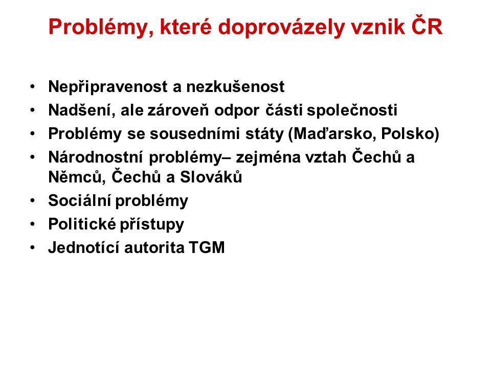 Problémy, které doprovázely vznik ČR Nepřipravenost a nezkušenost Nadšení, ale zároveň odpor části společnosti Problémy se sousedními státy (Maďarsko,
