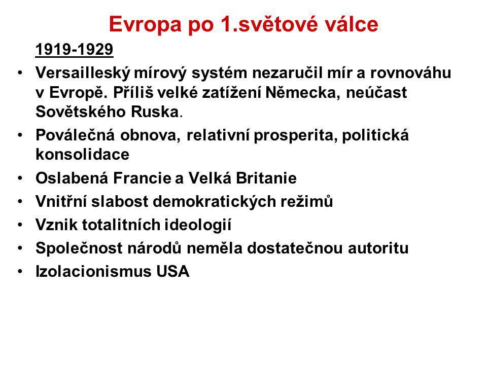 Evropa po 1.světové válce 1919-1929 Versailleský mírový systém nezaručil mír a rovnováhu v Evropě. Příliš velké zatížení Německa, neúčast Sovětského R