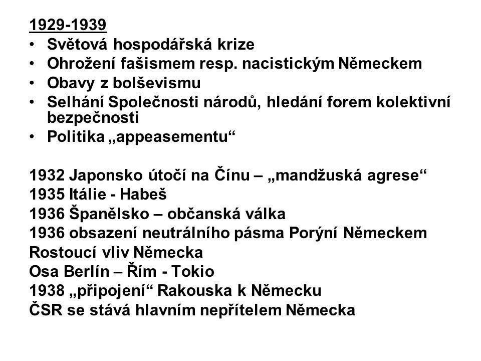 1929-1939 Světová hospodářská krize Ohrožení fašismem resp. nacistickým Německem Obavy z bolševismu Selhání Společnosti národů, hledání forem kolektiv