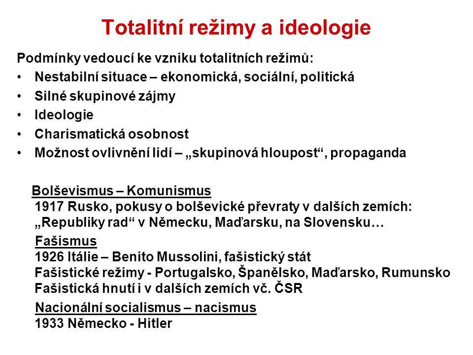 Totalitní režimy a ideologie Podmínky vedoucí ke vzniku totalitních režimů: Nestabilní situace – ekonomická, sociální, politická Silné skupinové zájmy