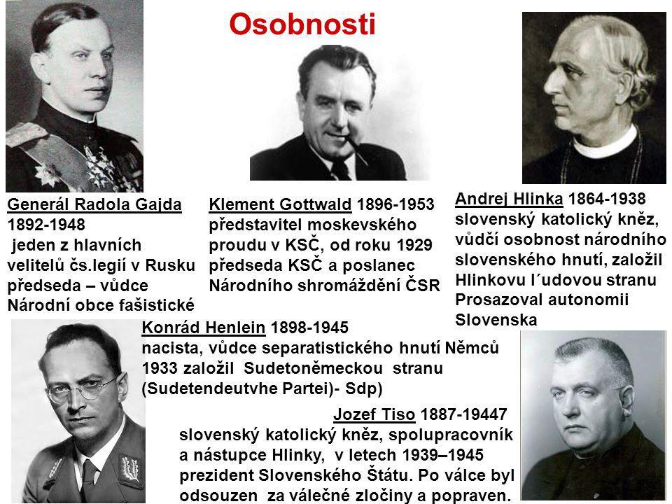 Osobnosti Klement Gottwald 1896-1953 představitel moskevského proudu v KSČ, od roku 1929 předseda KSČ a poslanec Národního shromáždění ČSR Generál Rad