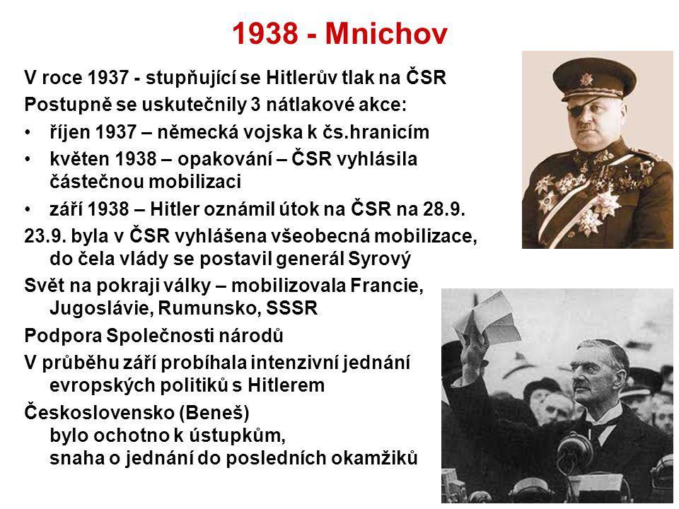 1938 - Mnichov V roce 1937 - stupňující se Hitlerův tlak na ČSR Postupně se uskutečnily 3 nátlakové akce: říjen 1937 – německá vojska k čs.hranicím kv