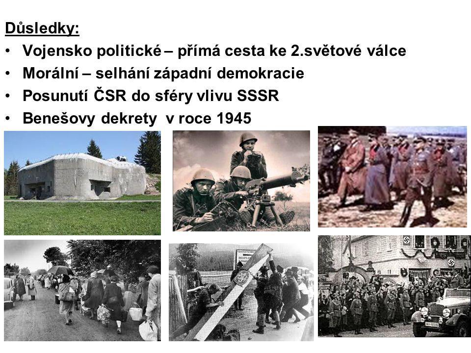 Důsledky: Vojensko politické – přímá cesta ke 2.světové válce Morální – selhání západní demokracie Posunutí ČSR do sféry vlivu SSSR Benešovy dekrety v