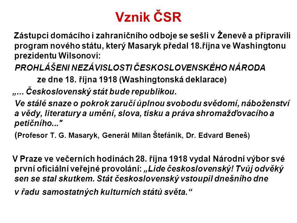 Vznik ČSR Zástupci domácího i zahraničního odboje se sešli v Ženevě a připravili program nového státu, který Masaryk předal 18.října ve Washingtonu pr