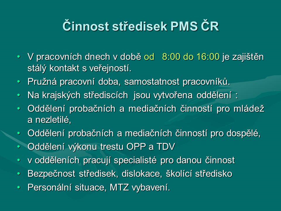 Činnost středisek PMS ČR V pracovních dnech v době od 8:00 do 16:00 je zajištěn stálý kontakt s veřejností.V pracovních dnech v době od 8:00 do 16:00