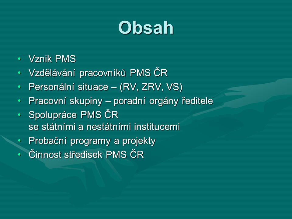 Obsah Vznik PMSVznik PMS Vzdělávání pracovníků PMS ČRVzdělávání pracovníků PMS ČR Personální situace – (RV, ZRV, VS)Personální situace – (RV, ZRV, VS)