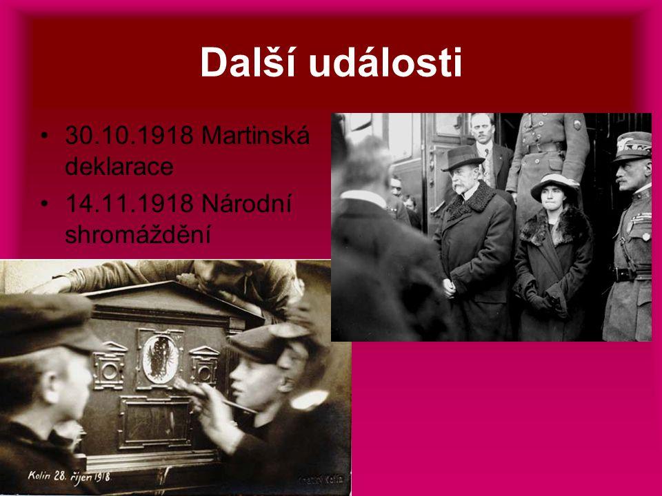Další události 30.10.1918 Martinská deklarace 14.11.1918 Národní shromáždění