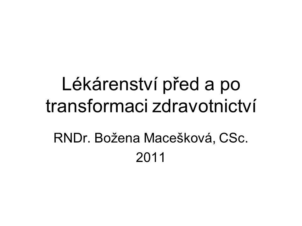 Lékárenství před a po transformaci zdravotnictví RNDr. Božena Macešková, CSc. 2011