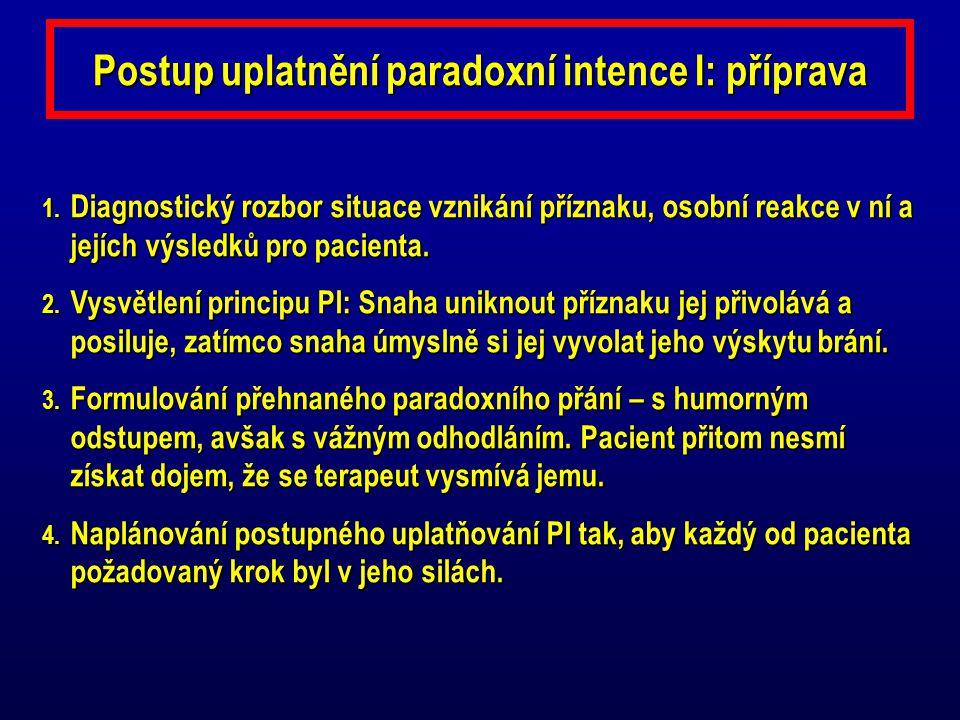 Postup uplatnění paradoxní intence I: příprava 1. Diagnostický rozbor situace vznikání příznaku, osobní reakce v ní a jejích výsledků pro pacienta. 2.