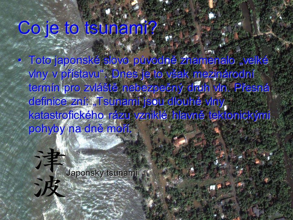 """Co je to tsunami.Toto japonské slovo původně znamenalo """"velké vlny v přístavu ."""