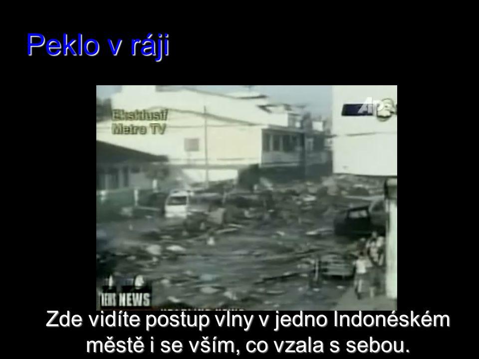 Peklo v ráji Zde vidíte postup vlny v jedno Indonéském městě i se vším, co vzala s sebou.