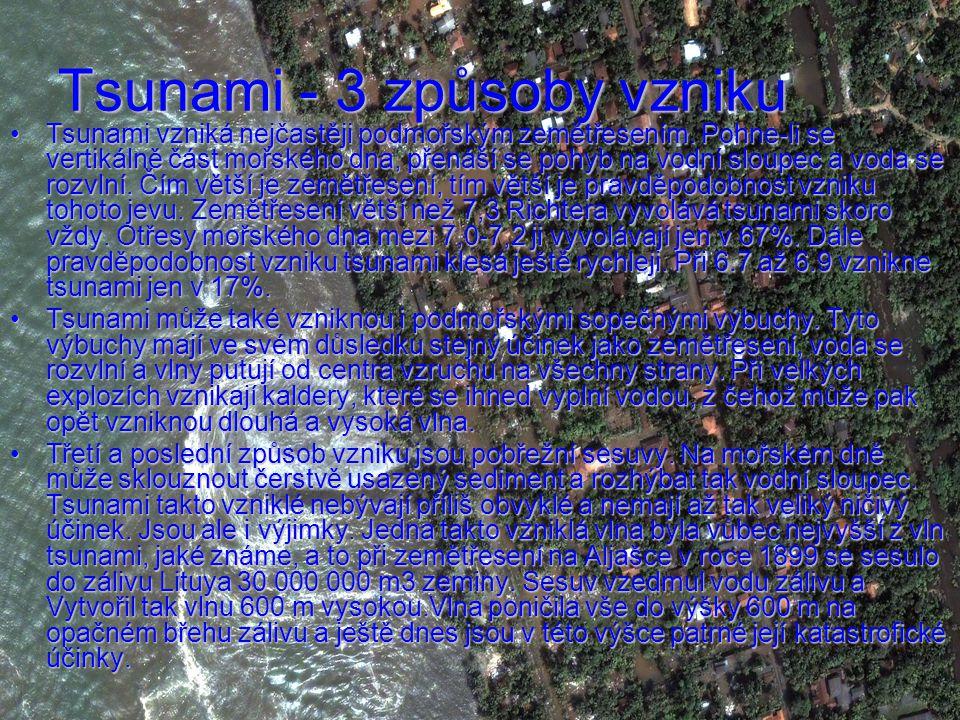 Tsunami - 3 způsoby vzniku Tsunami vzniká nejčastěji podmořským zemětřesením.
