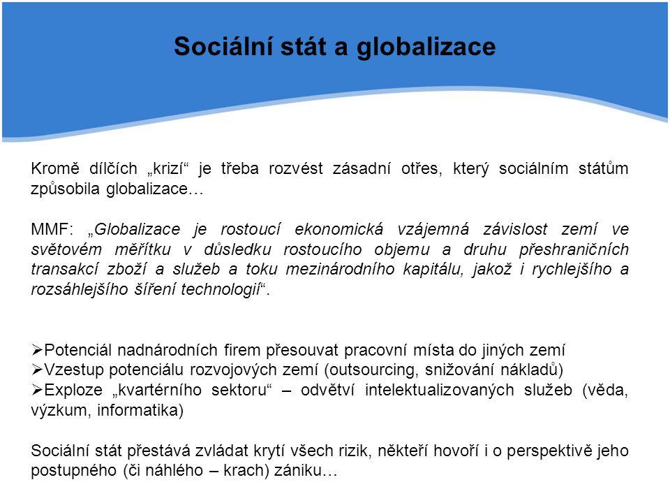 """Sociální stát a globalizace Kromě dílčích """"krizí"""" je třeba rozvést zásadní otřes, který sociálním státům způsobila globalizace… MMF: """"Globalizace je r"""