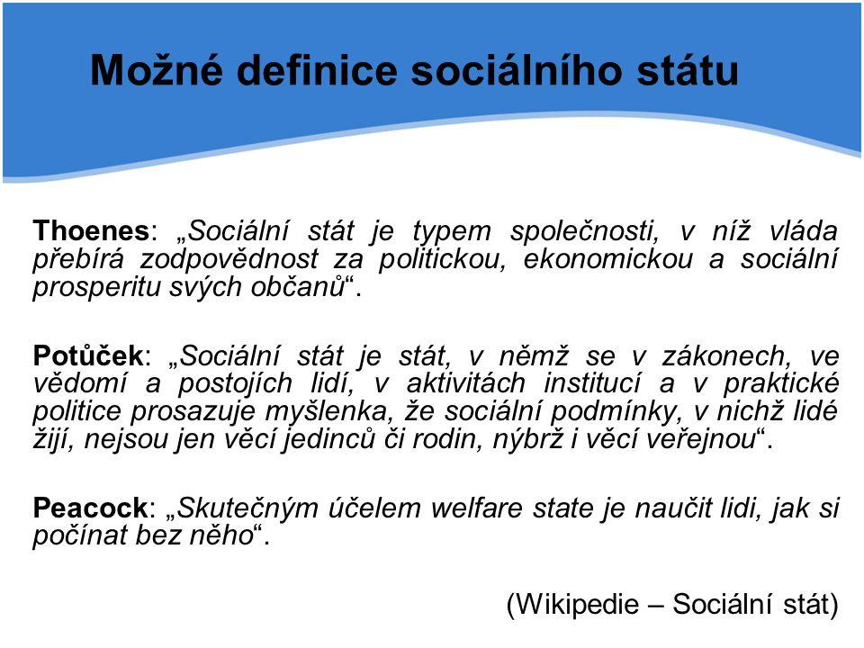 """Možné definice sociálního státu Thoenes: """"Sociální stát je typem společnosti, v níž vláda přebírá zodpovědnost za politickou, ekonomickou a sociální p"""