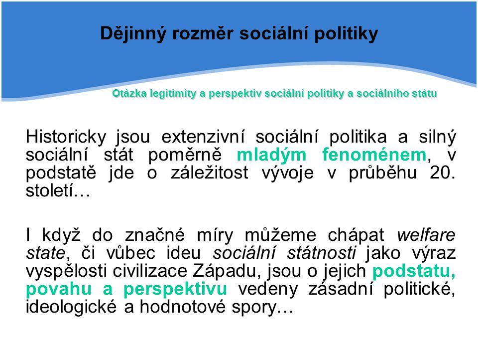 Historicky jsou extenzivní sociální politika a silný sociální stát poměrně mladým fenoménem, v podstatě jde o záležitost vývoje v průběhu 20. století…