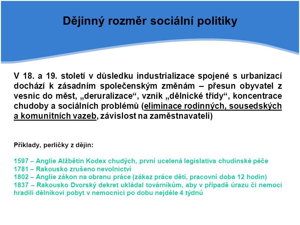 Dějinný rozměr sociální politiky V 18. a 19. století v důsledku industrializace spojené s urbanizací dochází k zásadním společenským změnám – přesun o