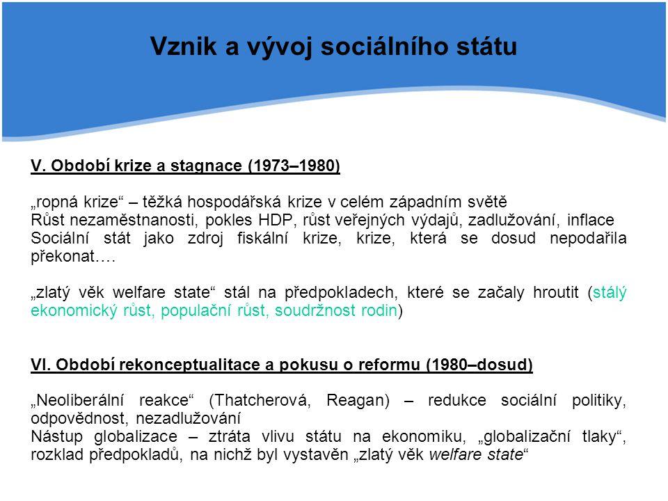 """Vznik a vývoj sociálního státu V. Období krize a stagnace (1973–1980) """"ropná krize"""" – těžká hospodářská krize v celém západním světě Růst nezaměstnano"""