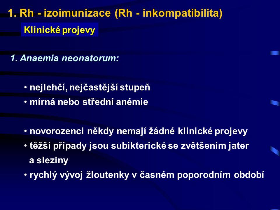 1. Rh - izoimunizace (Rh - inkompatibilita) Klinické projevy 1. Anaemia neonatorum: nejlehčí, nejčastější stupeň mírná nebo střední anémie novorozenci