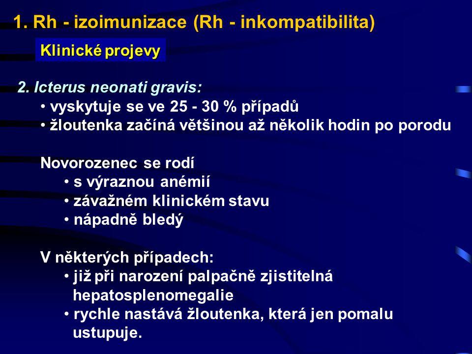 1. Rh - izoimunizace (Rh - inkompatibilita) Klinické projevy 2. Icterus neonati gravis: vyskytuje se ve 25 - 30 % případů žloutenka začíná většinou až