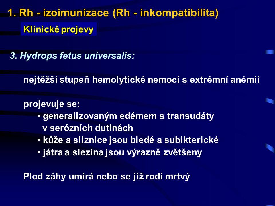 1. Rh - izoimunizace (Rh - inkompatibilita) Klinické projevy 3. Hydrops fetus universalis: nejtěžší stupeň hemolytické nemoci s extrémní anémií projev