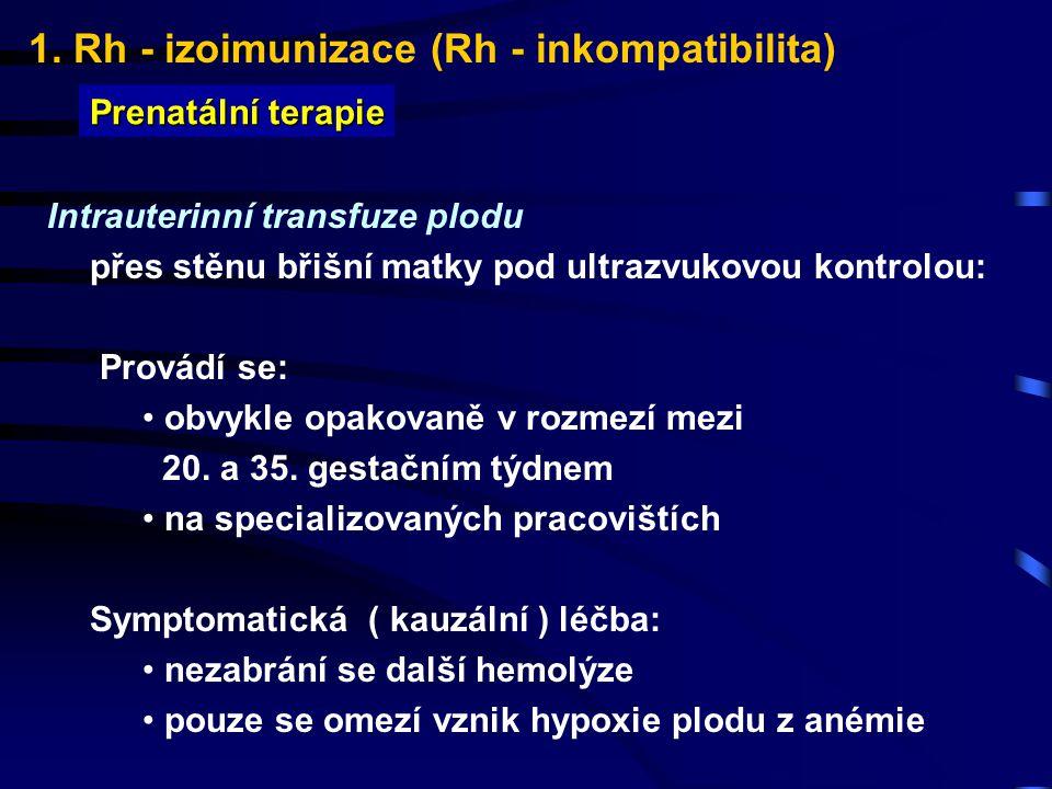 1. Rh - izoimunizace (Rh - inkompatibilita) Prenatální terapie Intrauterinní transfuze plodu přes stěnu břišní matky pod ultrazvukovou kontrolou: Prov