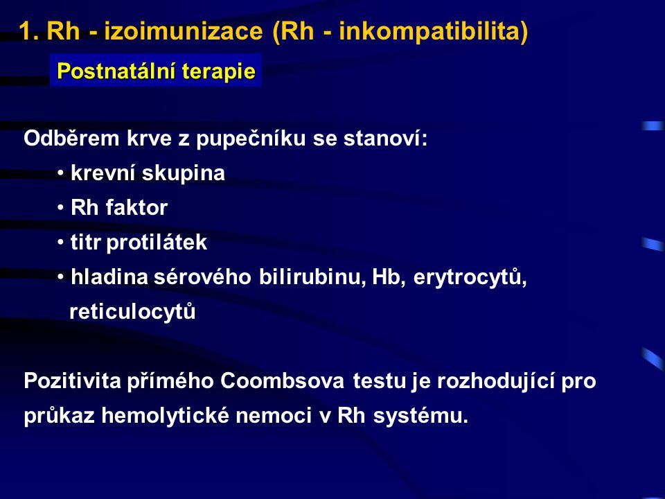 1. Rh - izoimunizace (Rh - inkompatibilita) Postnatální terapie Odběrem krve z pupečníku se stanoví: krevní skupina Rh faktor titr protilátek hladina