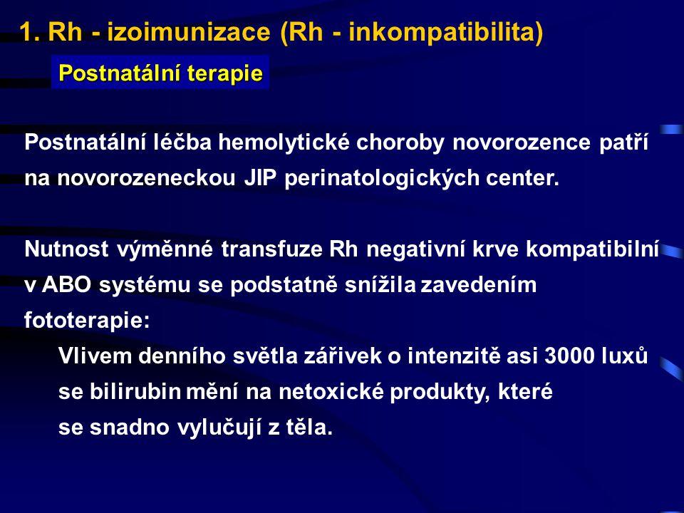 1. Rh - izoimunizace (Rh - inkompatibilita) Postnatální terapie Postnatální léčba hemolytické choroby novorozence patří na novorozeneckou JIP perinato