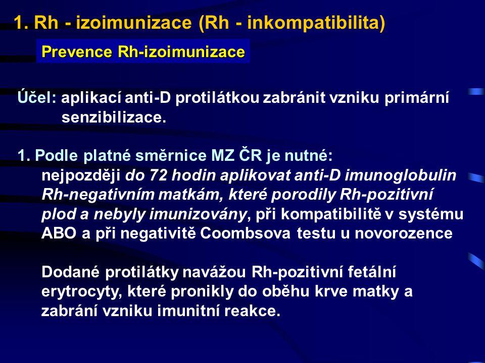 1. Rh - izoimunizace (Rh - inkompatibilita) Prevence Rh-izoimunizace Účel: aplikací anti-D protilátkou zabránit vzniku primární senzibilizace. 1. Podl